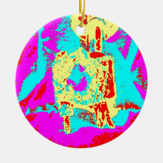 Clamp Brass O Double-Sided Ceramic Round Christmas Ornament
