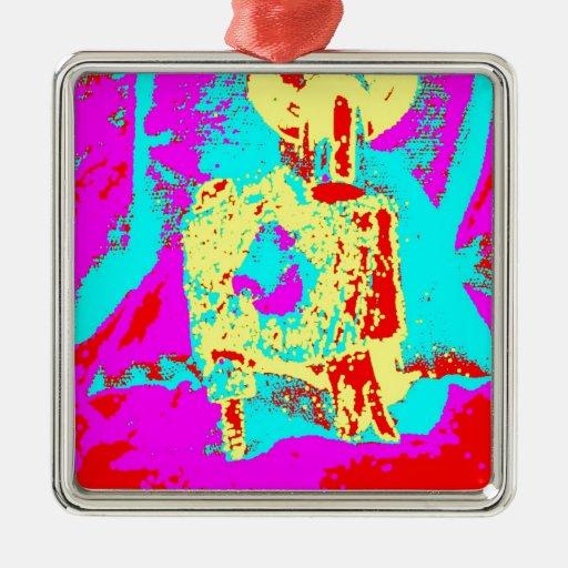 Clamp Brass O Square Metal Christmas Ornament