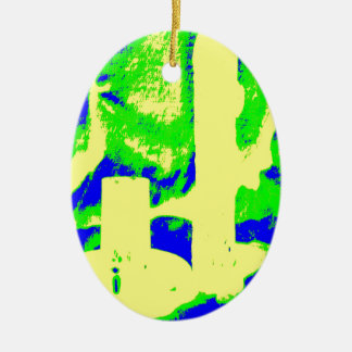 Clamp Brass R Double-Sided Oval Ceramic Christmas Ornament