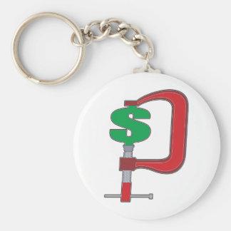 Clamp Down Dollar Basic Round Button Keychain