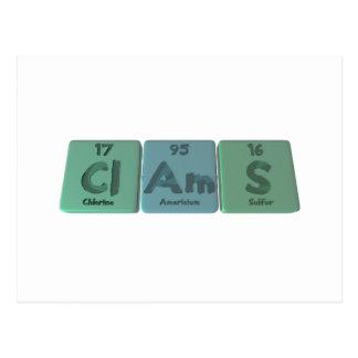 Clams-Cl-Am-S-Chlorine-Americium-Sulfur.png Tarjeta Postal