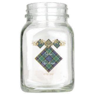 Clan Allison Tartan & Thistles Wedding Memento Mason Jar