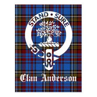 Clan Anderson Tartan Crest Postcard