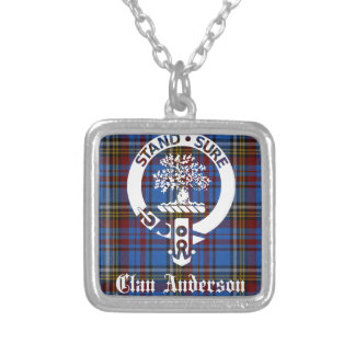 Clan Anderson Tartan Crest Silver Plated Necklace