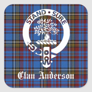 Clan Anderson Tartan Crest Square Sticker