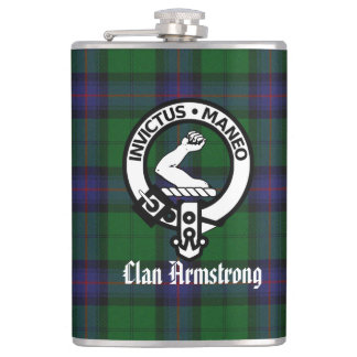 Clan Armstrong Crest Badge and Tartan Flask