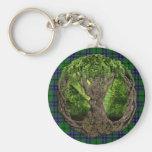 Clan Austin Tartan And Celtic Tree Of Life Basic Round Button Keychain