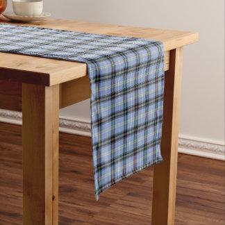 Clan Bell Light Blue and Black Scottish Tartan Short Table Runner