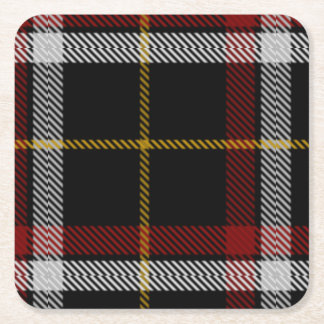 Clan Black Tartan Square Paper Coaster