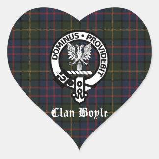 Clan Boyle Crest & Tartan Heart Sticker