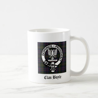 Clan Boyle Crest & Tartan Classic White Coffee Mug