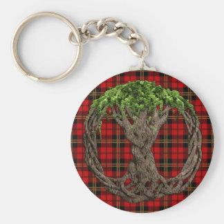 Clan Brodie Tartan And Celtc Tree Of Life Basic Round Button Keychain