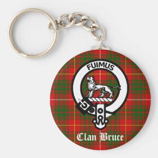 Clan Bruce Crest Tartan Basic Round Button Keychain