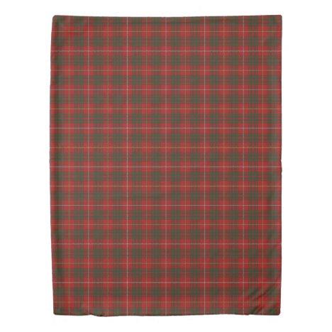 Clan Bruce Scottish Accents Red Green Tartan Duvet Cover