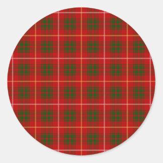 Clan Bruce Tartan Round Sticker