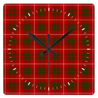 Clan Bruce Tartan Square Wall Clock