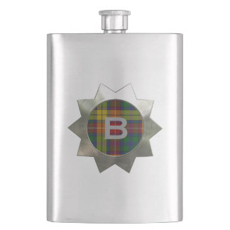 Clan Buchanan Plaid Monogram Flask