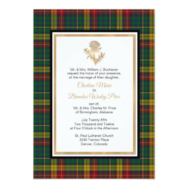 Clan Buchanan Plaid Thistle Wedding Invitation