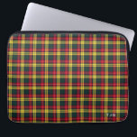 "Clan Buchanan Tartan Colorful Plaid Monogram Laptop Sleeve<br><div class=""desc"">Monogrammed,  water resistant neoprene sleeve with a bright red,  yellow,  and forest green Scottish plaid pattern from 1850. Traditional Clan Buchanan family tartan,  including the MacCormack sept. Three sizes available,  for tablets and laptops.</div>"