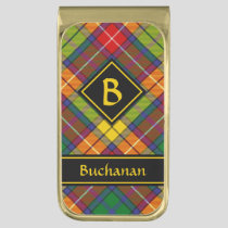 Clan Buchanan Tartan Gold Finish Money Clip