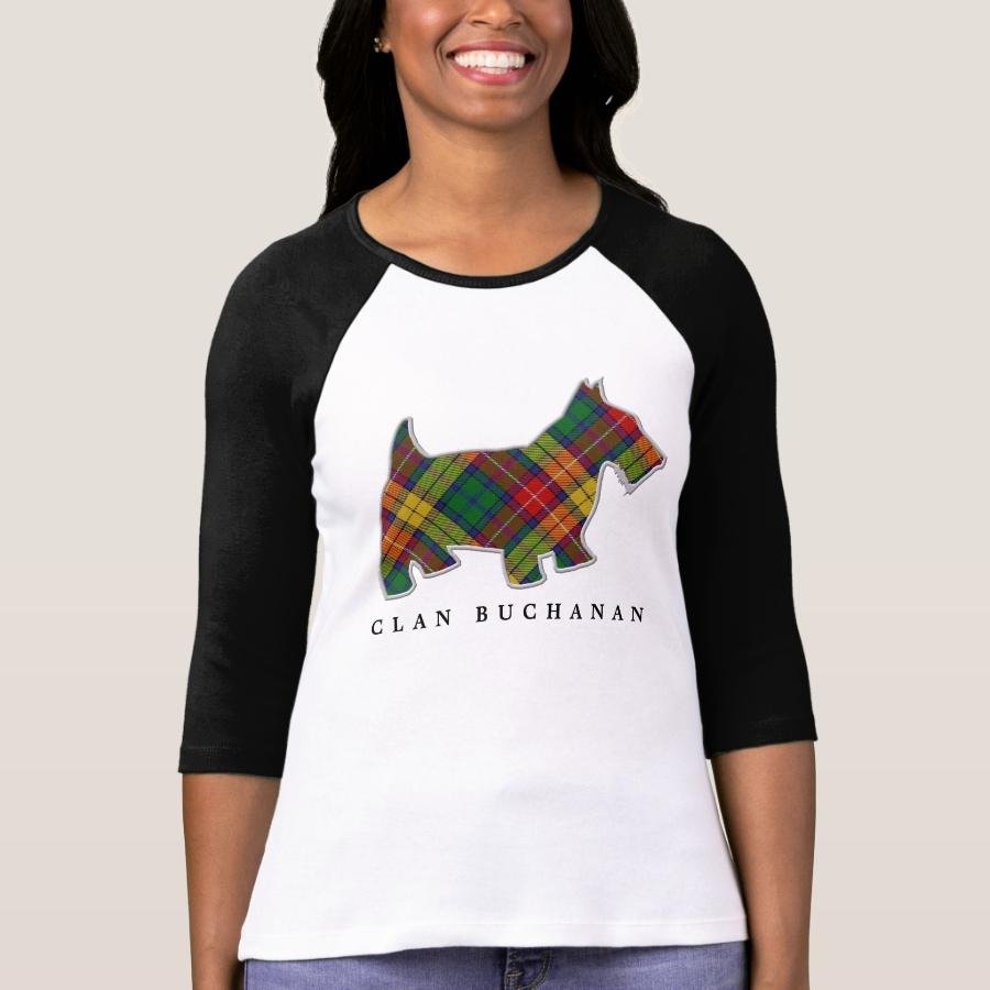 Clan Buchanan Tartan Scottie Dog T-Shirt - Best Selling Long-Sleeve Street Fashion Shirt Designs