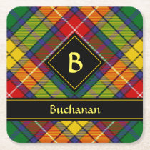 Clan Buchanan Tartan Square Paper Coaster