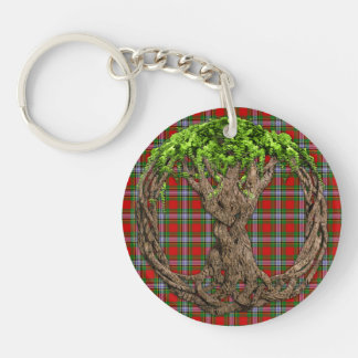 Clan Caledonia And Celtic Tree Of Life Double-Sided Round Acrylic Keychain