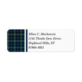 Clan Campbell of Argyll Tartan Return Address Label