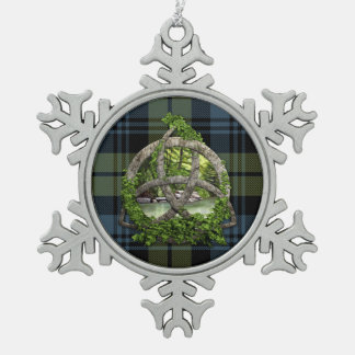 Clan Campbell Tartan Celtic Trinity Snowflake Pewter Christmas Ornament