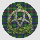 Clan céltico MacDonald del nudo de la trinidad de Pegatina Redonda
