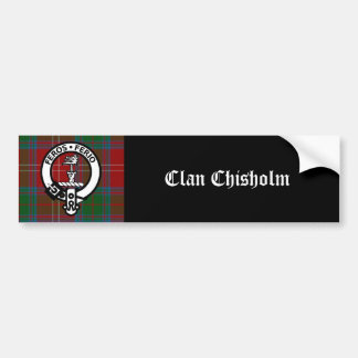 Clan Chisholm Tartan & Crest Badge Bumper Sticker