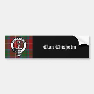 Clan Chisholm Tartan & Crest Badge Car Bumper Sticker
