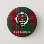 Clan Chisholm Tartan & Crest Badge Button