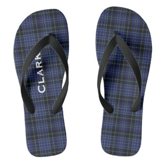 Clan Clark Plaid Personalized Flip Flops