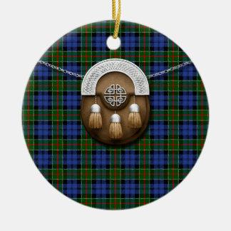 Clan Colquhoun Tartan And Sporran Ceramic Ornament