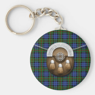 Clan Colquhoun Tartan And Sporran Basic Round Button Keychain