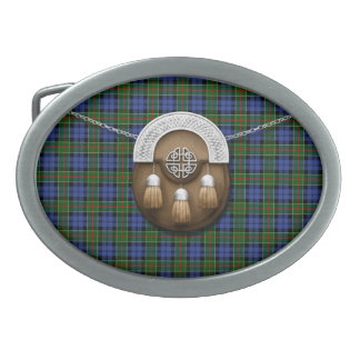 Clan Colquhoun Tartan And Sporran Oval Belt Buckle