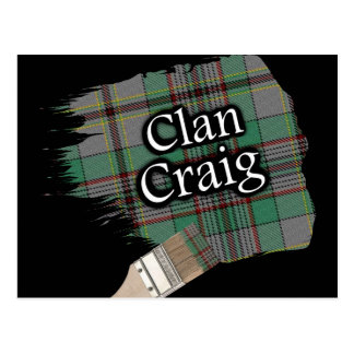 Clan Craig Scottish Tartan Paint Brush Postcard