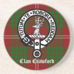 Clan Crawford Crest Tartan Coaster