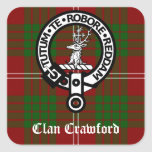 Clan Crawford Crest Tartan Square Sticker