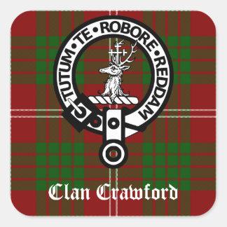 Clan Crawford Crest Tartan Square Sticker