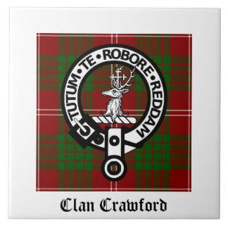 Clan Crawford Crest Tartan Tile