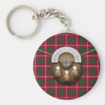 Clan Crawford Tartan And Sporran Basic Round Button Keychain