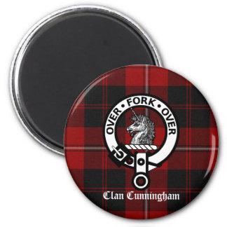 Clan Cunningham Badge & Tartan 2 Inch Round Magnet
