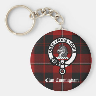 Clan Cunningham Badge & Tartan Keychain