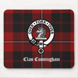 Clan Cunningham Badge & Tartan Mouse Pad