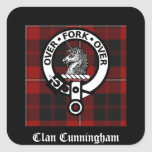 Clan Cunningham Badge & Tartan Square Sticker