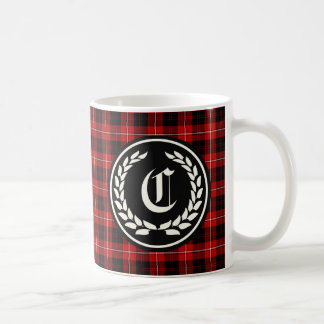 Clan Cunningham Red and Black Tartan Monogram Coffee Mug