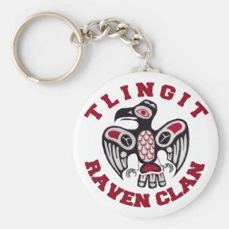 Clan del cuervo del Tlingit Llavero Redondo Tipo Pin
