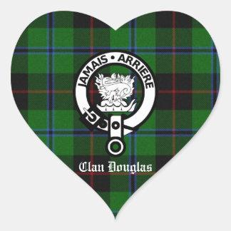 Clan Douglas Tartan Crest Heart Sticker